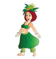 girl in hawaiian costume vector image