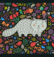 hand-drawn a fat gray cat surrounded vector image vector image