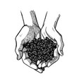 hand drawn open palms with coffee black and white vector image