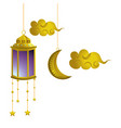 hanging lamp moon and clouds vector image
