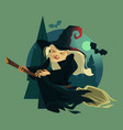 happy smiling evil old witch mascot character vector image vector image