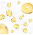 heap falling golden coins isolated on transparent vector image