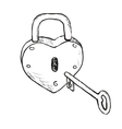 Heart Lock Hand Drawn vector image vector image