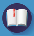 icon of open textbook with red bookmark vector image vector image