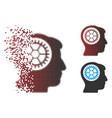 moving pixel halftone head cogwheel icon vector image vector image