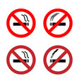 no smoking sign icons set vector image vector image