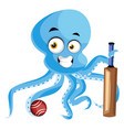 octopus with baseball bat on white background vector image