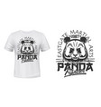 panda t-shirt print mockup fighting sport club vector image