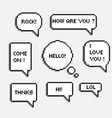 pixel 8 bit speech bubbles with words hi hello lol vector image