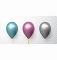 realistic blue purple and gray balloons on vector image