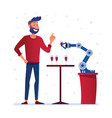 robotic hand serves wine to a man vector image