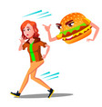 scared teen girl runing away from hamburger vector image vector image
