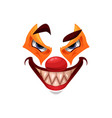 scary clown face icon halloween funster vector image