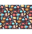 Sea cartoon pattern Funny sea creatures vector image