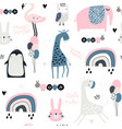 Seamless childish pattern with cute giragge