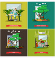 set of first assistance posters in flat vector image vector image