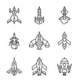 set of rocket icons isolated on white background vector image