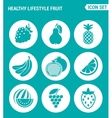 set of round icons white Healthy lifestyle fruit vector image vector image