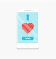 smartphone send love vector image vector image