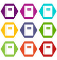 spiral notepad icon set color hexahedron vector image vector image