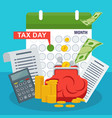 tax day concept stack of money and red purse vector image