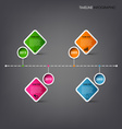 Time line info graphic with square design element vector image vector image