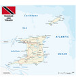 trinidad and tobago road map with flag vector image vector image
