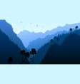twilight in mountain forest vector image