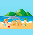 two kids playing sandcastle on the beach vector image vector image