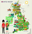 united kingdom travel map vector image