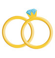 wedding rings hand drawn design on white vector image