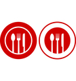 icons with plate fork spoon knife vector image