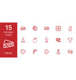 15 piece icons vector image vector image