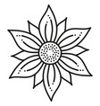 black and white round symmetrical hexagonal flower vector image vector image