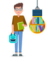 boy stand near light bulb with books inside it vector image vector image
