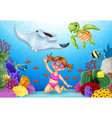 cartoon little girl diving in underwater tropical vector image
