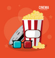 cinema pop corn box glasses and reel film vector image
