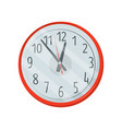 classic red round clock with white dial big black vector image