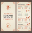 classic restaurant menu template vector image vector image
