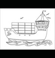contour image a floating sea cargo ship vector image