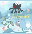 cute blue ocean and sea animal cartoon vector image