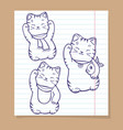 cute japanese cats sketch set vector image vector image