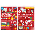 delivery and international courier service posters vector image vector image