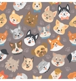 Dogs heads seamless pattern background set vector image vector image