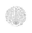 doodle violin coloring page vector image vector image