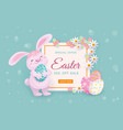 easter sale banner with bunny eggs and flowers vector image vector image