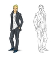 elegant young man in business suit vector image vector image