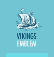 emblem with scandinavian ship - vikings drakkar in vector image