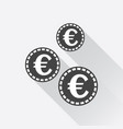 euro coins icon in flat style black coin on white vector image vector image