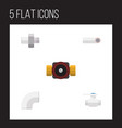 flat icon sanitary set of tap flange plastic and vector image vector image